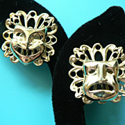 Vintage Drama / Comedy Theater Mask Earrings