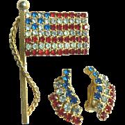 SALE 1960-70s Vintage Patriotic American Flag Pin & Earring Set