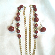 1960s Vintage Modernest Cherry Red Bead & Chain Necklace & Dangle Earrings Set