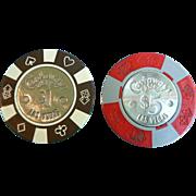Old Poker Casino Chips Las Vegas Defunct Castaways Casino $5 & $1