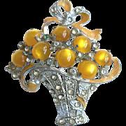 Gold Moonglow Glass Cabochon, Enamel & Rhinestone Flower Basket Pin