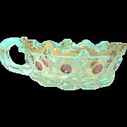 1909 EAPG Bullseye Rose Blush Stain Nappy Candy Bowl Dish