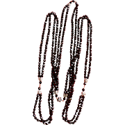 Flapper Style Long French Jet Bead & Rhinestone Necklace