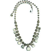Vintage Moonglow Glass Blue Cabochon & Rhinestone Necklace 1950s