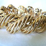 """SALE Vintage Designer Signed """"HATTIE CARNEGIE"""" Two Toned Gold Bracelet"""