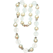 Sparkling 1950s Carved Lucite, Rhinestone & Faux Pearl Bead Necklace