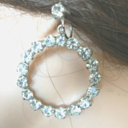 Large White Rhinestone Round Hoop Earrings Screw Back