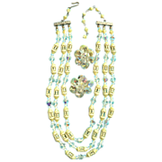 Vintage Enameled Open-Work Lemon Yellow Beads & Aurora Triple Strand Beads & Earrings