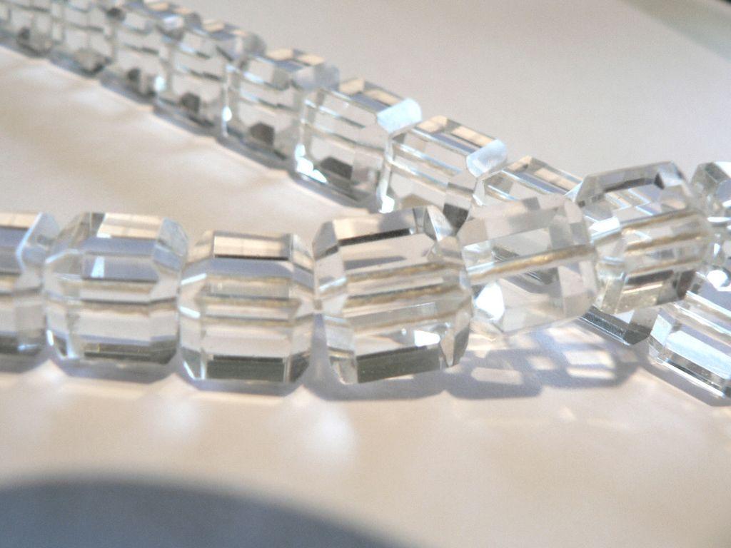 Rare Art Deco Rock Crystal Quartz Block Cut Bead Necklace