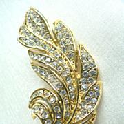 Paved Crystal Rhinestone Vintage Leaf Brooch Pin