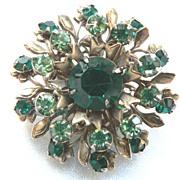 Vintage Green Floral Spray Brooch Pin