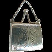 Gorgeous Antique Doll Purse Silver 925 Hinged Fashion