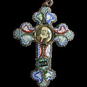 Large1940's Millefiori Micro Mosaic Cross with Pope Pius XII Convex Photo Pendant