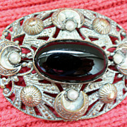 Victorian Mourning Pin Brooch Onyx & Faux Pearl