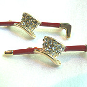 Circa 1950s Rhinestone & Enameled Cane & Top Hat Scatter Pins Pin