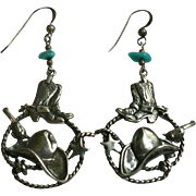"Signed ""Sb"" Sterling Silver, Turquoise Nuget, Cowboy Western Dangle Pierced Earrings"