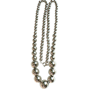 Vintage LONG Silver Plated Graduated Bead Necklace Silver over Copper