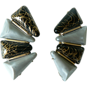 1950's Ear-Wrap Large Grey-Pearl & Gold-Veined Black Thermoplastic Large Earrings