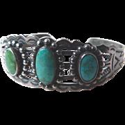 Vintage Native American Sterling Silver Bracelet Turquoise