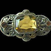 Edwardian Gold Gilt Brass Pin with Faux Topaz