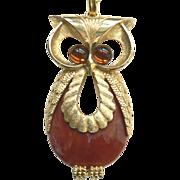 Vintage Large OWL Pendant Necklace Cabochon Glass Eyes & Lucite Body
