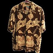 "Vintage ""JOE KEALOHA'S THE GENUINE HAWAIIAN SHIRT"" Rayon Bananas & Coconuts Aloha Sh"