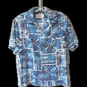 "1960's Vintage Barkcloth ""MALIHINI HAWAII"" Aloha Blue / White  Tribal Shirt Sz. M"