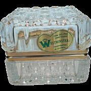 "Clear Crystal West Germany ""Westminster"" Trinket Box, Casket with Hinged Lid & Origi"