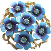 1960's Forget-Me-Not Enameled & Rhinestone Flower Pin Pendant by Avon