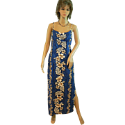 Vintage Hawaiian Full Length Dead Stock Royal Blue Sundress New with Tags Hibiscus Tropical ..
