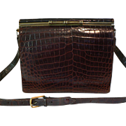 Rare Vintage Genuine Alligator Skin SHOULDER STRAP Adjusting to Kelly Style Handbag Purse Rich