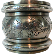 Victorian Silverplate Estate Napkin Ring with Floral Engraved Swag