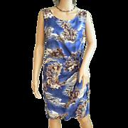 "Vintage 1970s Rayon ""Hilo Hattie Hawaiian Original"" Wrap Dress Royal Blue Tropical P"