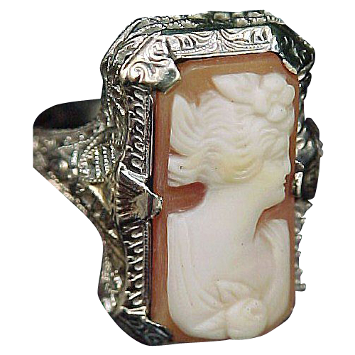 14k White Gold Filigree Art Deco Cameo Ring Size 5 1/2