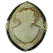 14k White Gold Filigree 1920's, Carved Shell Cameo Brooch / Pendant