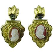 Late Victorian Gold Fld Carnelian Cameo Earrings