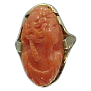 Victorian 14k Gold Carved Natural Coral Size 8.5 Ring