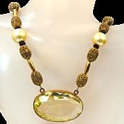 Czechoslovakia Lemon Yellow Glass & Filigree Gilt Brass 1920s Necklace