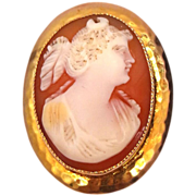 10k Gold Early 1900's Carved Shell Cameo Pin / Pendant Diana the Huntress