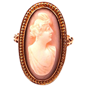 Victorian 10k Gold & Angelskin Coral Cameo Ring