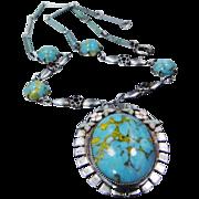 Extraordinary Rhodium, Enamel & Turquoise Glass 1930's Czeck Necklace