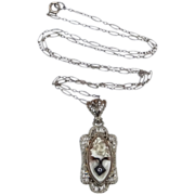 14k White Gold Filigree Habille Cameo Art Deco Necklace Orig. Paperclip Chain