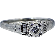 18k White Gold Filigree 1/4 Carat Diamond Solitaire Ring 1930's