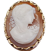 14k Gold Artist Signed Cameo Pin / Pendant Italy
