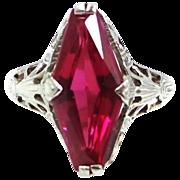 14k Filigree White Gold Ruby Art Deco Ladies Ring