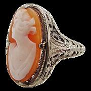14k White Gold Filigree Cameo Art Deco Ring