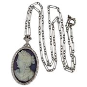 Art Deco 14k White Gold Filigree Sardonyx Chalcedony Cameo Necklace
