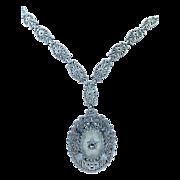 1920's Filigree Camphor Glass Art Deco Marcasite Necklace