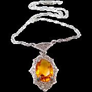 1920's Sterling Silver Filigree Topaz Glass Art Deco Necklace