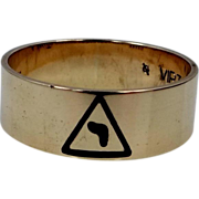 "10k Gold 14th Degree Scottish Rite of Freemasonry Masonic Ring ""virtus junxit mors non .."